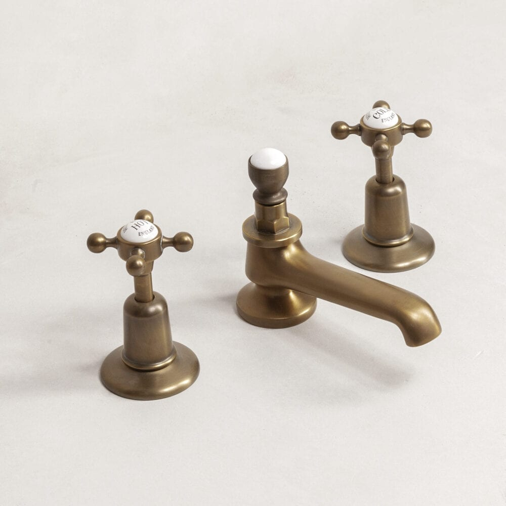 Deck Mounted 3 Hole Basin Set with Porcelain Release
